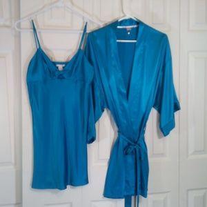 Victorias Secret Silky Blue Satin Night Set
